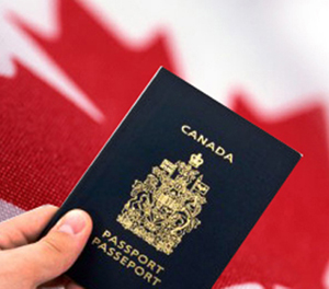 canada immigration flag and passport